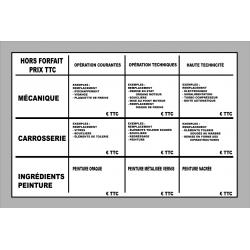 Panneau tarif honoraires des réparations