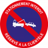 Stationnement interdit réservé à la clientèle avec pictogramme