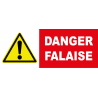 Panneau danger attention falaise
