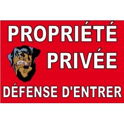 Panneau propriété privée défense d'entrer avec pictogramme chien