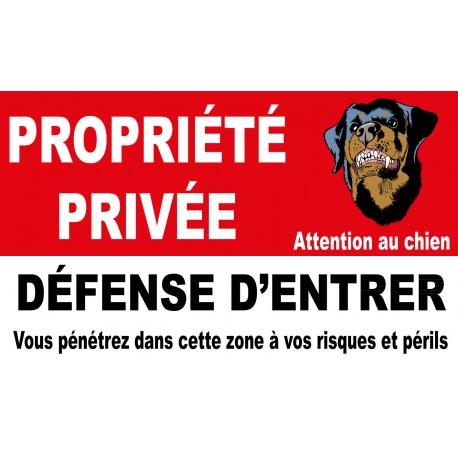 Propriété privée défense d'entrer vous pénétrez dans cette zone à vos risques et périls avec picto attention au chien