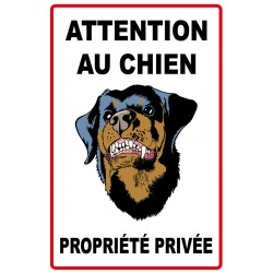 Attention au chien propriété privée avec picto chien méchant