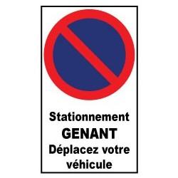 """Autocollant de dissuasion pour parking """" stationnement gênant déplacez votre véhicule """""""