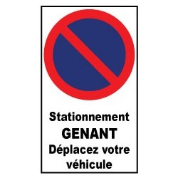 """Autocollant de dissuasion pour parking """"stationnement interdit déplacez votre véhicule """""""