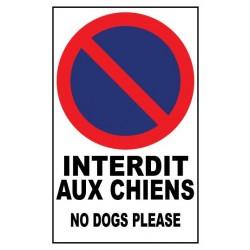 Panneau Interdit aux chiens No dogs please