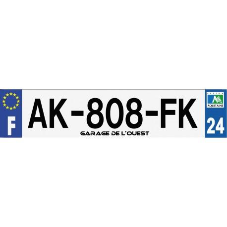 Plaque d'immatriculation auto 520x110mm avec personnalisation