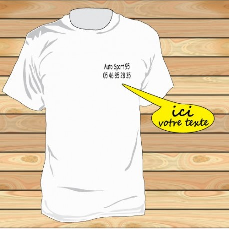 Tee shirt impression coté coeur par 10 pièces