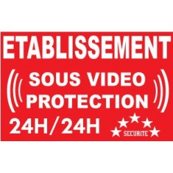 """Adhésif de dissuasion 100x70mm """"établissement sous vidéo protection"""""""