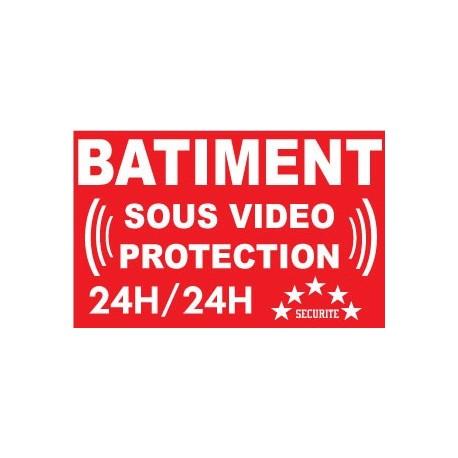 """Adhésif de dissuasion 100x70mm """"bâtiment sous vidéo protection"""""""