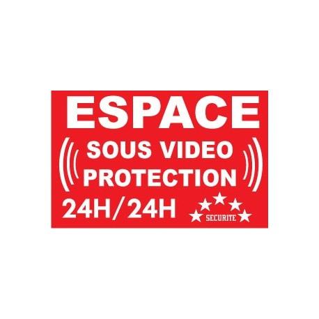 """Adhésif de dissuasion 100x70mm """"espace sous vidéo protection"""""""