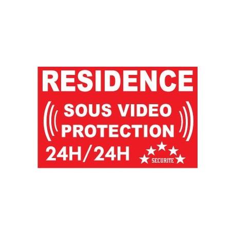 """Adhésif de dissuasion 100x70mm """"résidence sous vidéo protection"""""""
