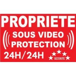 """Adhésif de dissuasion 100x70mm """"propriété sous vidéo protection"""""""