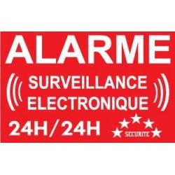 """Adhésif de dissuasion 100x70mm """"alarme surveillance électronique"""""""