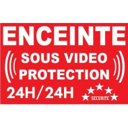 """Adhésif de dissuasion 100x70mm """"Enceinte sous vidéo protection"""