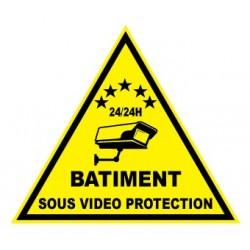"""Etiquette dissuasive """"bâtiment sous vidéo protection"""""""