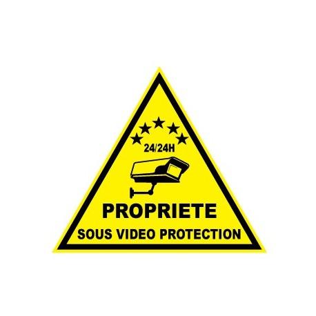 """Etiquette dissuasive """"propriété sous vidéo protection"""""""