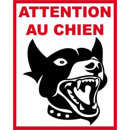 Panneau attention au chien, chien méchant