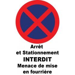 Autocollant de dissuasion pour parking arrêt et stationnement interdit menace de mise en fourrière