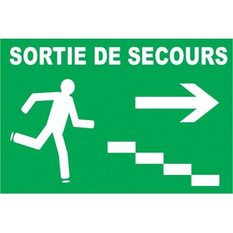 Sortie de secours avec excalier à droite