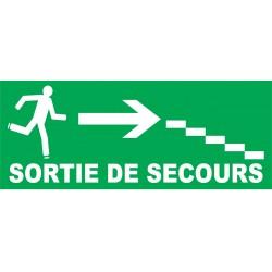 Sortie de secours direction escalier à droite