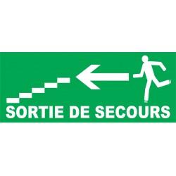 Sortie de secours direction escalier à gauche