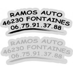 """Signature de coffre auto """"avec logo"""" 300ex en 2 couleurs"""