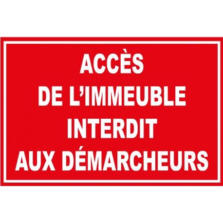 """Panneau """"Accès de l'immeuble interdit aux démarcheurs"""""""