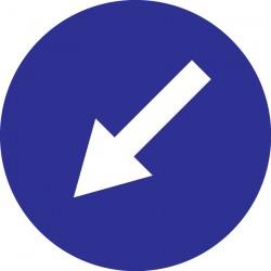 Panneau sens obligatoire en bas à gauche